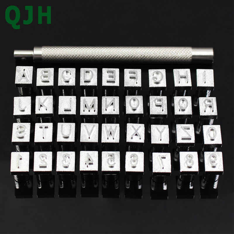 36Pcs/set Alphabet Letters & Number Stampers Set 3mm/6mm Steel Punch Metal Letter Punching Leather Tools for DIY Leather Craft