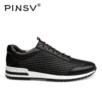 PINSV Men Casual Shoes Breathable Lace Up Walking Shoes Spring Lightweight Comfortable Walking Men Shoes Black Plus Size 37 47
