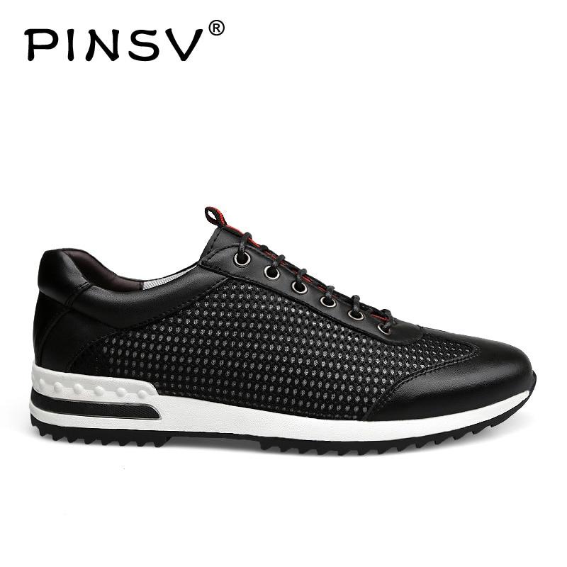 PINSV hommes chaussures décontractées respirant à lacets chaussures de marche printemps léger confortable marche hommes chaussures noir grande taille 37-47