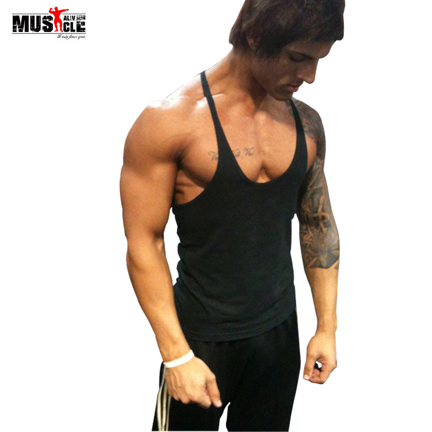 2018 Sommer Bodybuilding Tank Top Mænds Brandbeklædning Fitness Singlet Ermeløs Cotton Workout Stringer Regatas Casual Gyms
