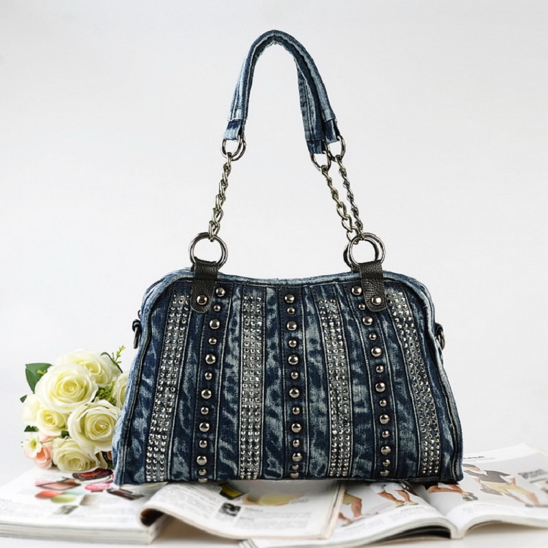新ジーンズ女性ショルダーバッグデニムリベットハンドバッグヴィンテージトレンディデザインジッパージーンズメッセンジャー女性の財布の女性の  グループ上の スーツケース & バッグ からの ショッピングバッグ の中 1