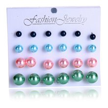 12 pairs/set Simulated Pearl For Women Jewelry Bijoux Brincos Pendientes Mujer Fashion Stud Earrings(China)
