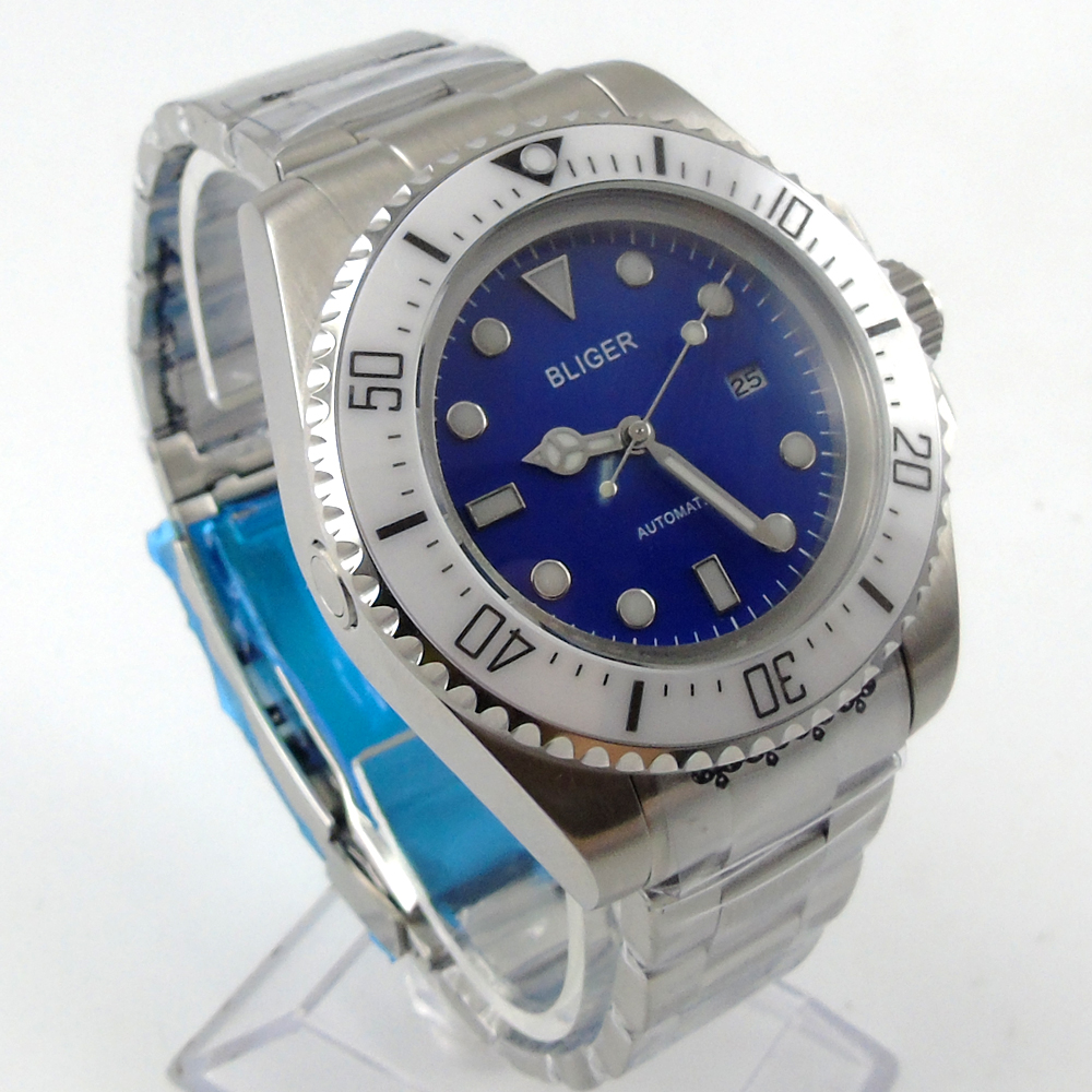 Bliger 44mm blue Sterile dial white Ceramic Bezel automatic mens watch