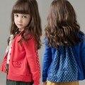 2016 nova primavera outono Meninas Meninos Crianças ponto Onda casaco cardigan de malha confortável bonito do bebê Roupas Infantis Roupas 10 W