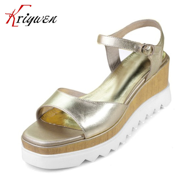 2017Summer Cow leather high heels women sandals gold silver party dress shoes for female women buckle strap wedges party sandals