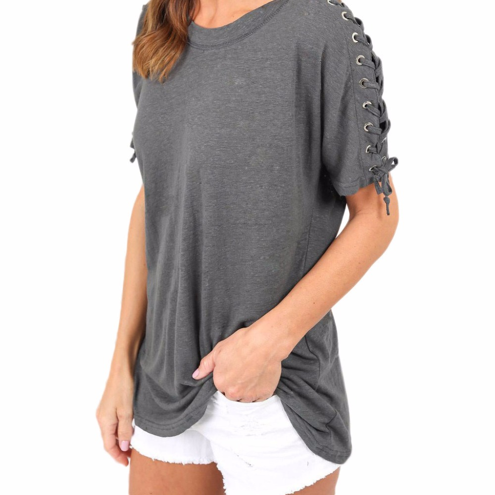 2017 Women Loose Lace Up Tie Sleeve Long T Shirt Ladies