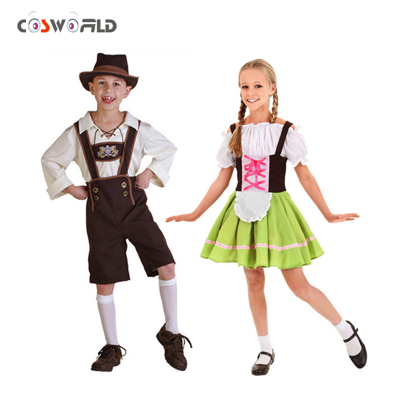 coshome germany beer festival waiter cosplay costumes boys and girls oktoberfest costumes kids children role play