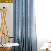 CITYINCITY Elegant Solid Faux Linen font b Curtains b font For Living Room Modern Darpe Fabric