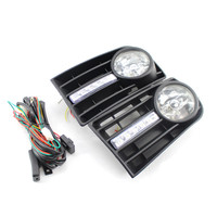 2pcs Car Front Fog Lights Grilles LED DRL Lamp With Line Auto Cars Running Daytime Fog