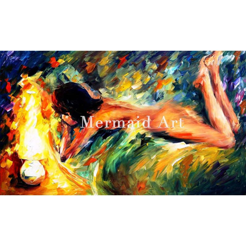 Hand Painted Oil Painting Naked Woman Aura