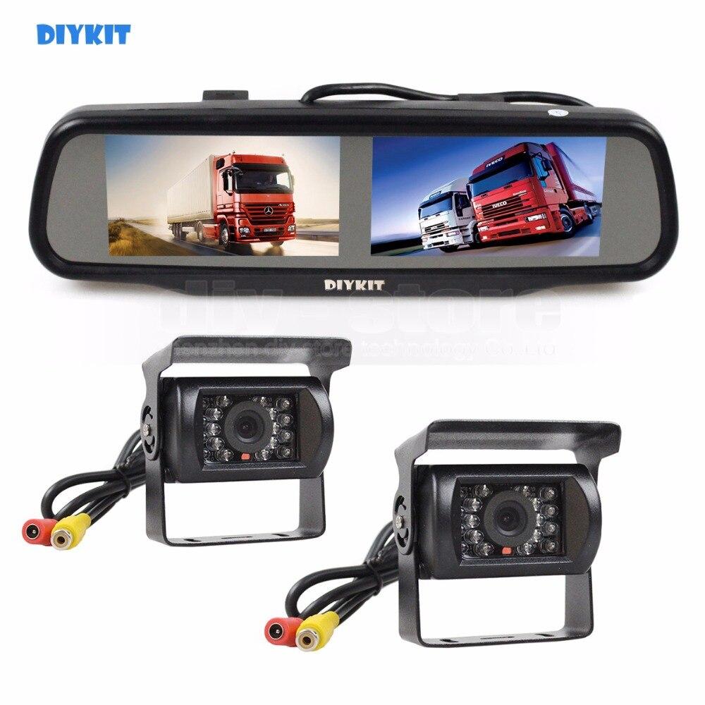 DIYKIT Dual 4.3 inch Screen Display Rear View Car Mirror Monitor + IR CCD Waterproof Car Rear View Backup Car Truck Bus Camera