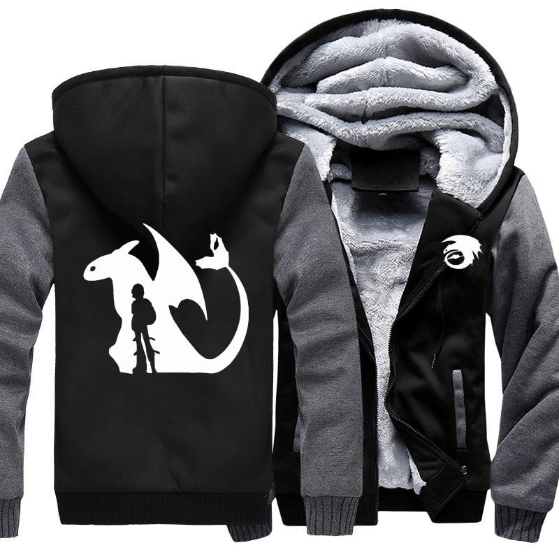 Impartial New Film How To Train Your Dragon Hoodies Sweatshirts Warm Coat Diy Mens Black Hooded Jackets Coat Us Size Zipper Coats Winter Men's Clothing