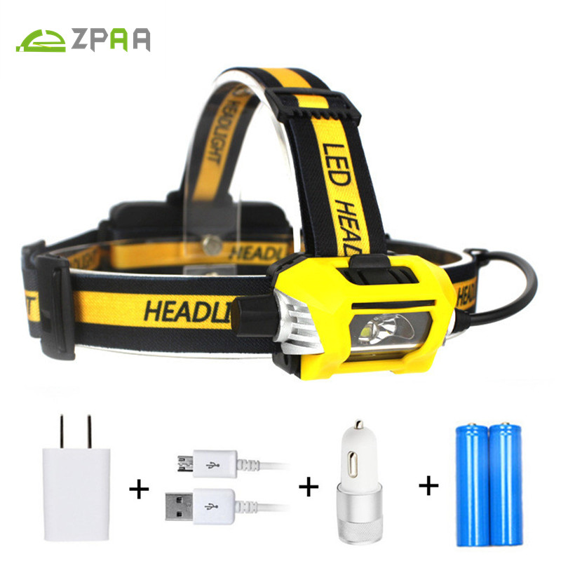 ZPAA LED Running Fishing LED Head Flashlight Torch SST-40 10W LED USB Headlamp Headlight 18650 Dimming Lamp + SOS Save Whistle