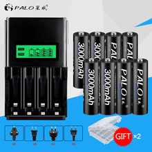 PALO 8pcs AA 3000mah rechargeable battery with LCD Battery Charger For NI-MH NI-CD 1.2v AA AAA Rechargeable battery for toy cars palo 4pcs 3000mah ni mh 1 2v aa rechargeable batteries aa battery battery rechargeable battery with lcd display battery charger