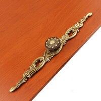 European Antique Boutique Drawer Bookcase Wardrobe Door Art Cabinet Handle Solid Brass L 148mm