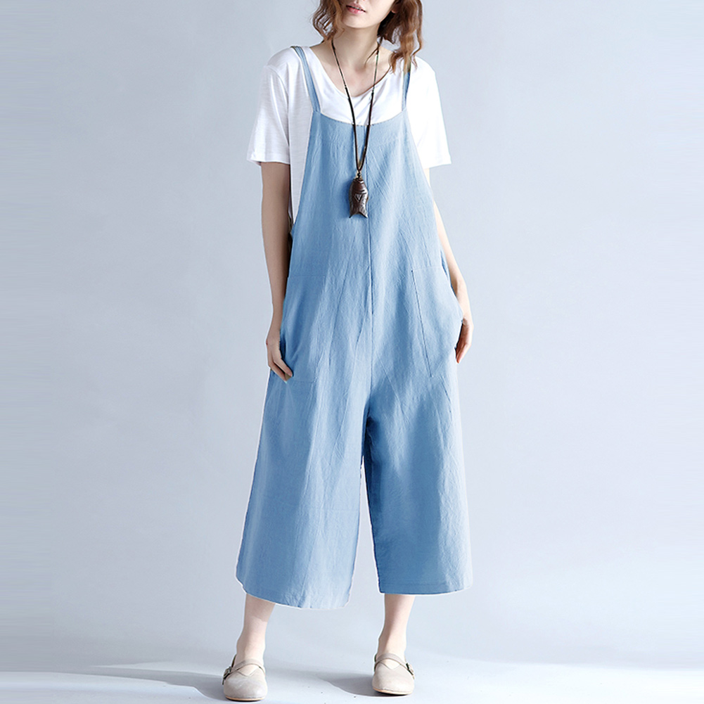 4XL 5XL Plus Size Wide Leg Loose   Jumpsuit   Women Suspender Trousers Casual Overalls Female Long Pants Pockets Playsuit Rompers