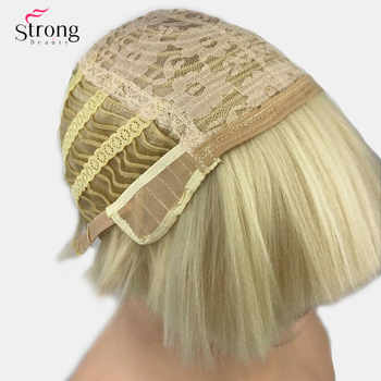 StrongBeauty Women\'s Synthetic Wig Short hair Shroom hairstyle Red Bowl haircut Blonde/White Wigs Bob