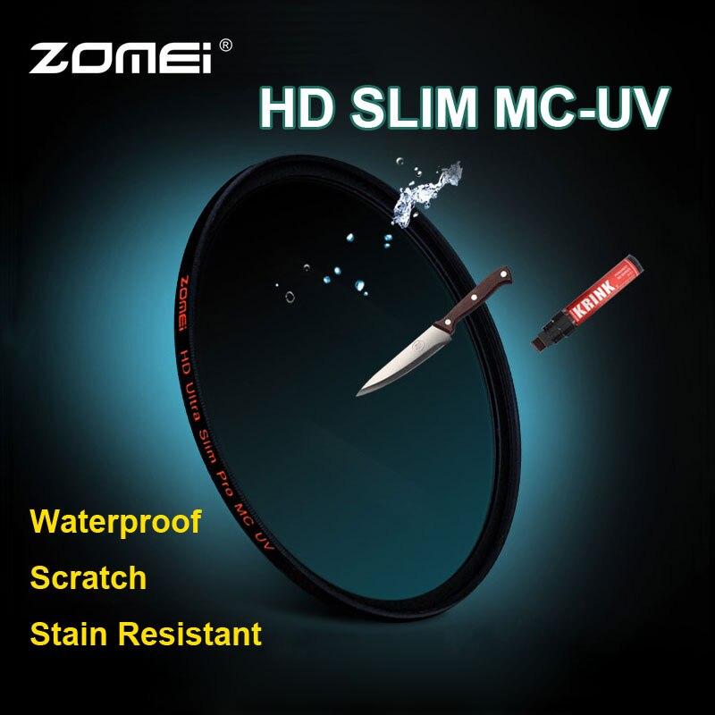 Zomei 52/55/58/62/67/72/77/82mm HD MC UV Filter Slim Optical Glass MCUV Lens Filter for Canon Nikon Sony Pentax Fujifilm Camera