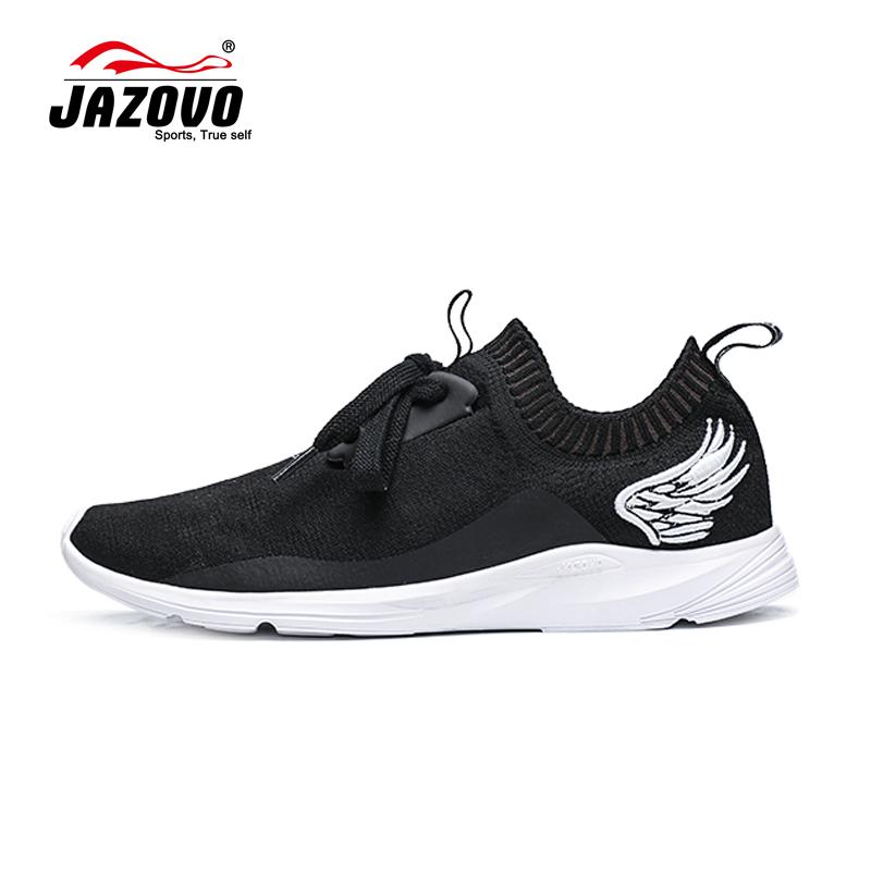 Prix pour 2016 JAZOVO Chaussures De Course Léger Mesh Sport Chaussures Noir Blanc Jogging Sneakers Pour Homme En Plein Air Plat Tendance de Marche Chaussures