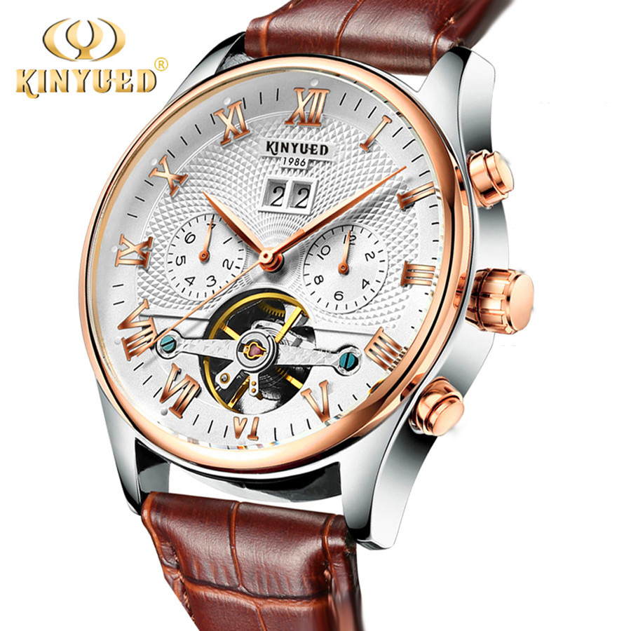 KINYUED Brand Men watches Automatic mechanical watch tourbillon Sport clock leather Casual business wristwatch relojes hombre 2017 luxury brand lovers watches men women automatic mechanical watch fashion casual clock male wood wristwatch relojes hombre