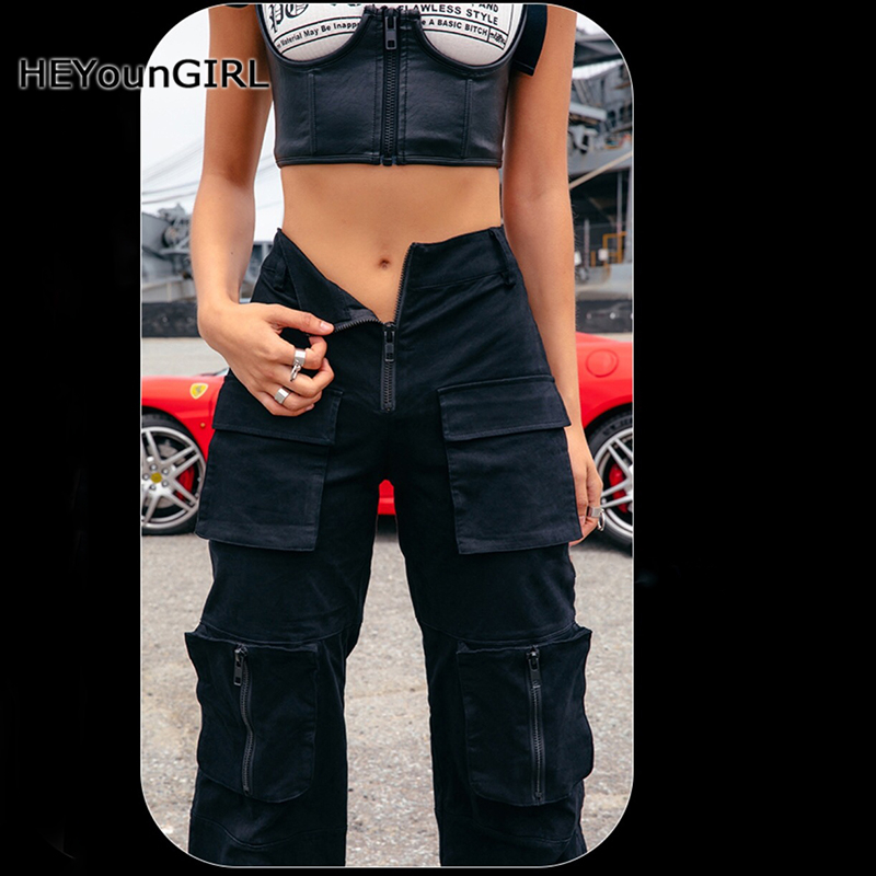 HEYounGIRL Harajuku Punk Black Cargo Pants Women High Waist Harem Pants Capri Casual Ladies Trousers Cotton Pockets Streetwear