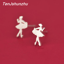 TenJshunzhu 925 Sterling Silver Women's Fashion Cute Tiny Ballet Dancer Stud Earrings For School Girls Daughter's Gift eh419(China)