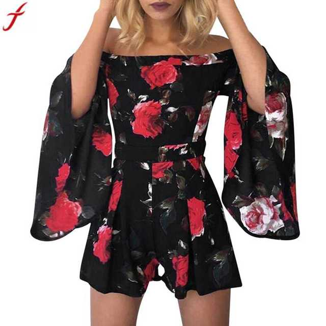90e9d488f7 Rompers womens jumpsuit shorts 2018 fashion Women Beach Floral Prints  Jumpsuit Clubwear Bodycon Playsuit combishort femme ete