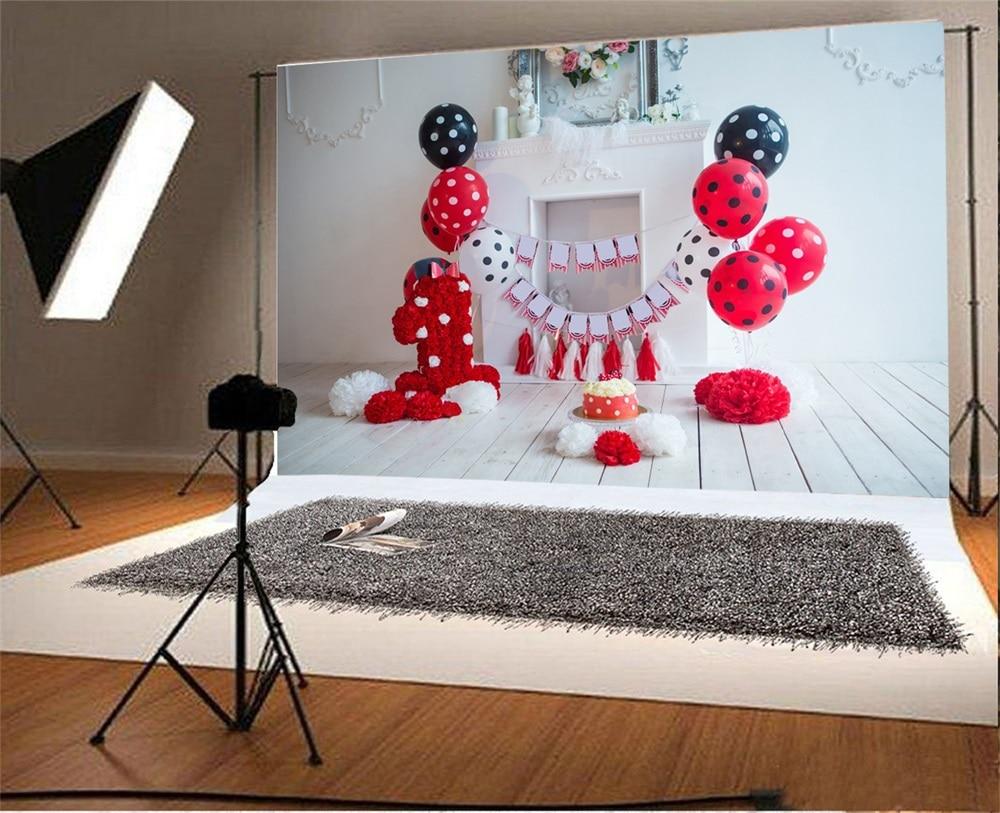 Laeacco Baby 1 Tort de balon cu flori pentru ziua de naștere - Camera și fotografia - Fotografie 2