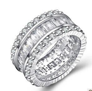 Véritable argent sterling 925 femmes anneaux de mariage anneaux uniques en argent anneaux femmes bague de luxe