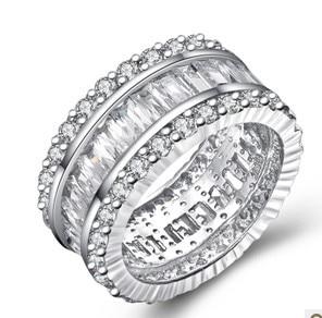 Genuine Sterling Silver 925 Womens Rings Wedding Unique Women Luxury Ring