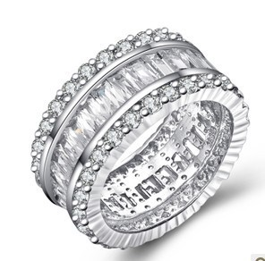 Genuine Sterling Silver 925 Womens Rings Wedding Unique Women Luxury Ring