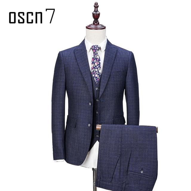 OSCN7 Azul marino a cuadros hombres traje Oficina Formal vestido de boda  trajes para hombres Terno 8d2b425d13e