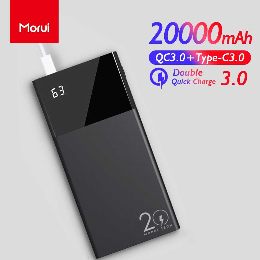 Morui powerbank ml20 pro 20000 mah 18 w qc3.0 + Type-C3.0 duplo banco de potência carga rápida com display digital inteligente bateria externa