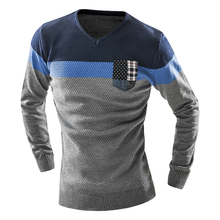 Chinese Singles Day 2017  Promo 2017 the new spring men's slim one's morality long-sleeved sweater classic large grid men round collar thickening casual sweater