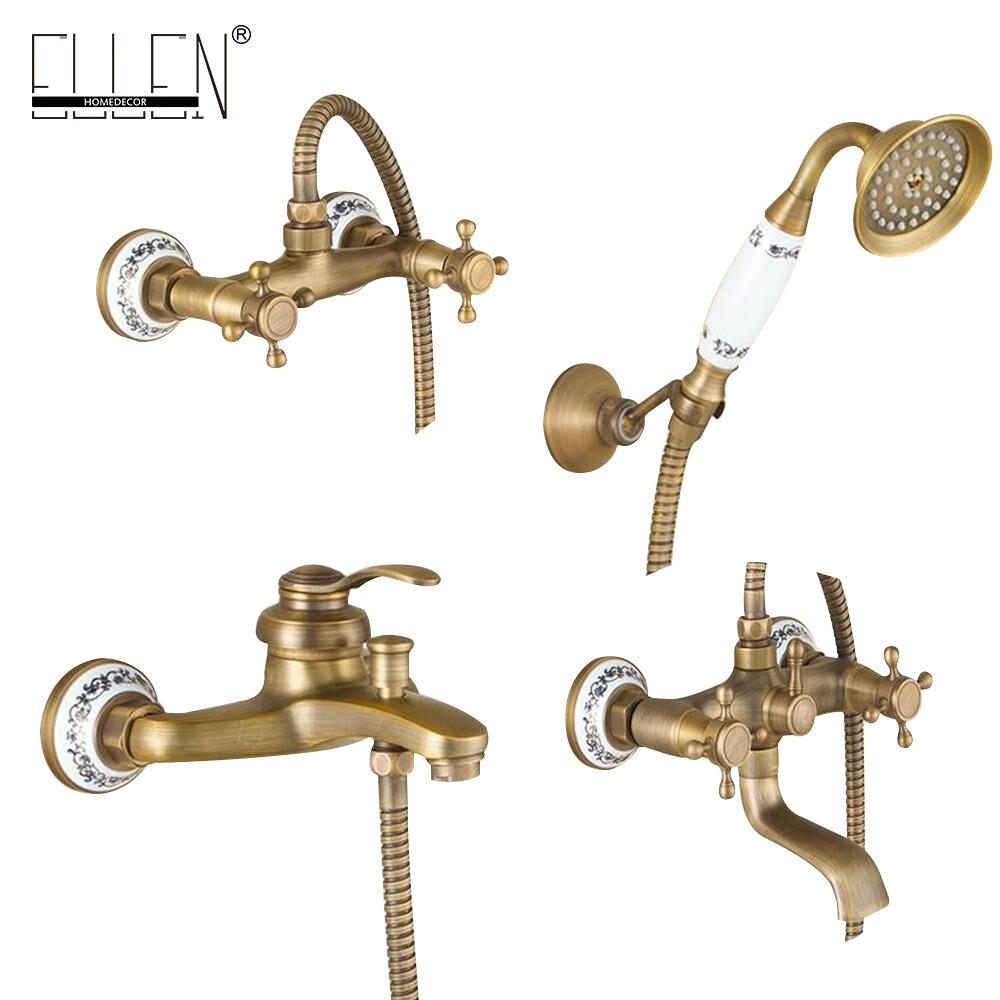 Montado en la pared baño grifo con ducha de mano bronce antiguo baño conjunto mezclador de la ducha