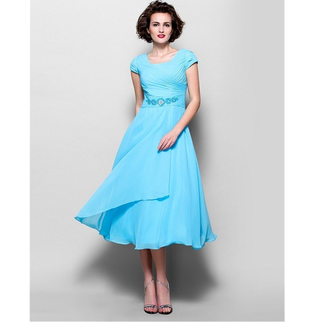 1c85098ee25 LAN TING BRIDE A-Line Jewel Neck Tea Length Chiffon Mother of the Bride  Dress with Beading Side Draping