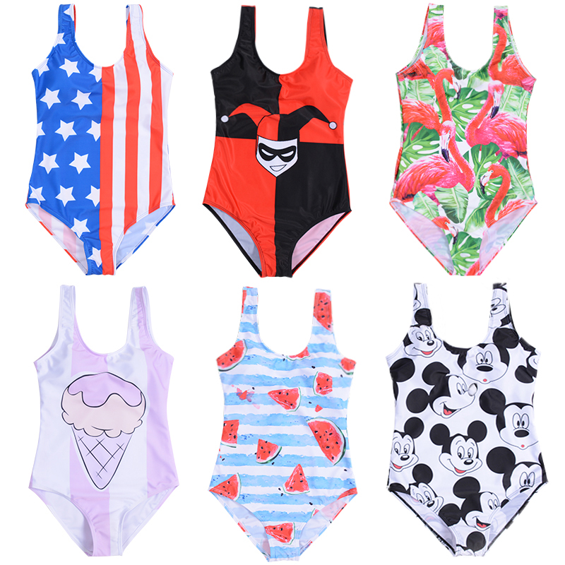 6ed1b089cc552 21 Types Swimsuit 2019 Mickey Cartoon Printed High Leg One Piece Swimsuit  Thong Bikini Striped Plus Size Swimwear Bathing Suit-in Body Suits from  Sports ...