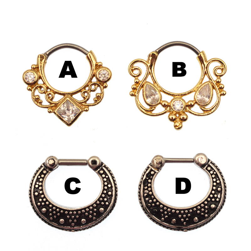 16g Hanger Rhodium Plated Brass Septum Clickers with Cubic CZ India Nose Ring