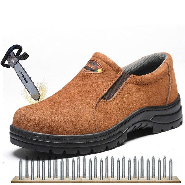 Kích Thước lớn Làm Việc An Toàn Giày cho Toe Đàn Ông Thép Bò Da Slip-on Khởi Động An Toàn Người Đàn Ông Thở Đâm Thủng bằng chứng Ngoài Trời Giày XX-383