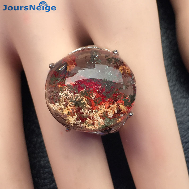 High Quality Red Natural Ghost Crystal Ring S925 Sterling Silver Ring Lucky for Men Women Gift Crystal Ring Jewelry Wholesale цена
