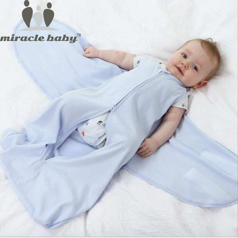 Miracle Baby 66cm 100% Cotton Baby Sleeping Bag Infant Sleepsacks Newborn Swaddle Wrap Baby Anti Tipi Quilt 0-6 Months