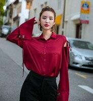 New Design Women Fashion Red Wine Blouse Shirt Sexy Drop Shoulder Long Sleeve Blusas Turn Down