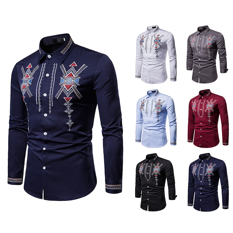 African Embroidery Dashiki Shirt Men Slim Long Sleeve Chemise Homme Ethnic Totem Design Mens Dress Shirts Wedding Party Camisas