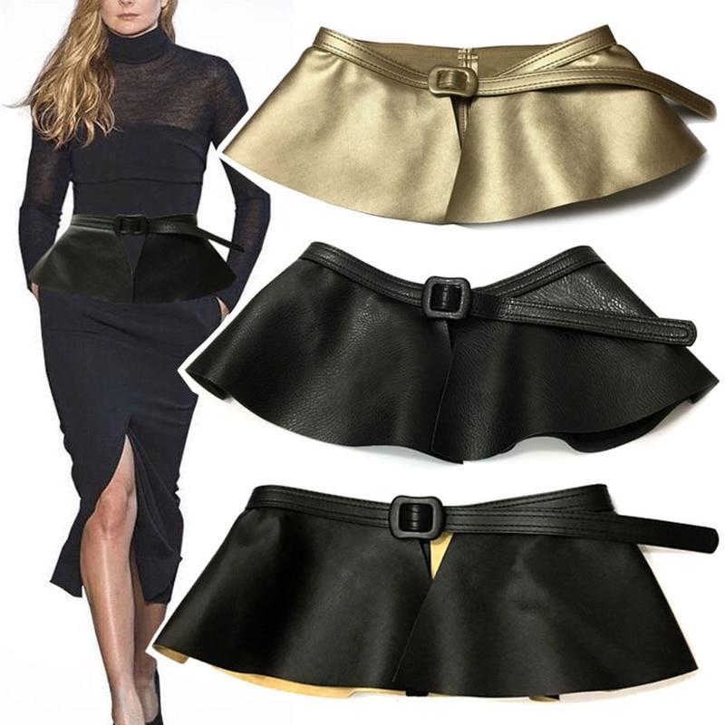 2018 New Trending Woman Wide Gold Black Corset   Belt   Ladies Fashion Ruffle Skirt Peplum Waist   Belts   Cummerbunds for Women Dress