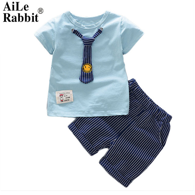 184cc483a AiLe Rabbit Summer New Boys Baby Set Short-sleeved T-shirt and Pants 2 Sets  of Fashion Suit Smiling Face Tie Gentleman Suit k1