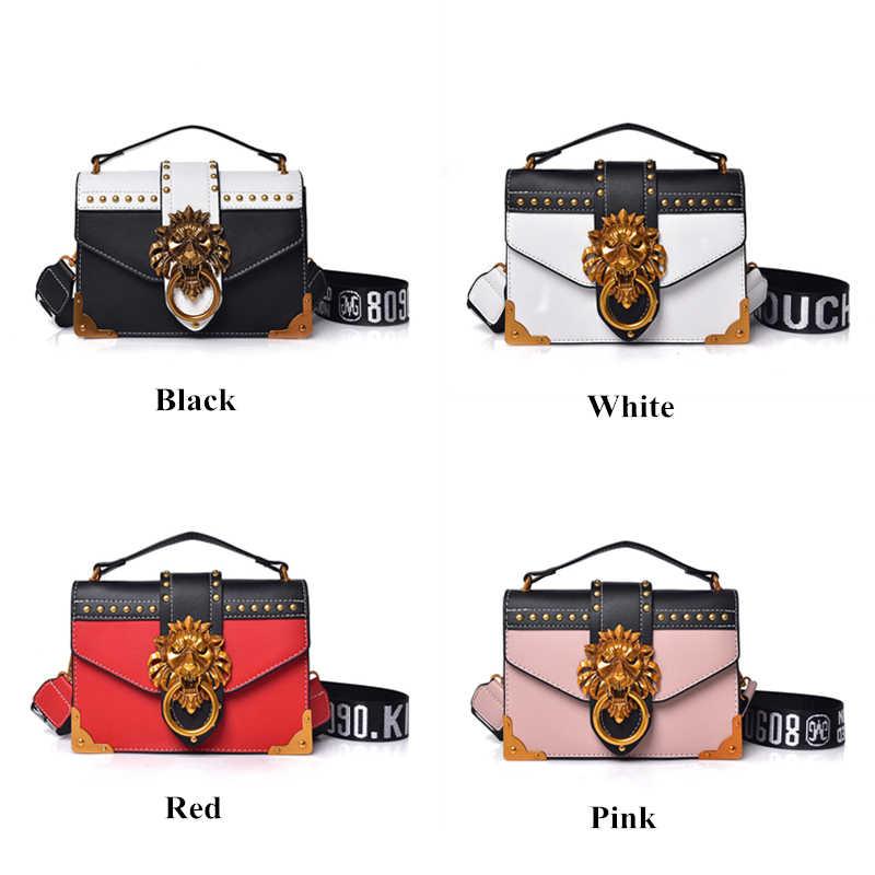 2766e993f46d ... Fashion female Crossbody bag red PU leather women flap handbag 2018  rivet lion head decoration ladies