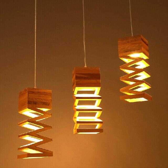 Moderne Kurze Holz Anhänger Leuchte Für Esszimmer Wohnzimmer Leuchte  Dekoration Frühjahr Pendelleuchte E27