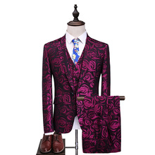 MarKyi fashion rose print men suits for wedding 2017 new 3 pieces tuxedo mens dress plus size 5xl
