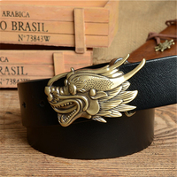 Fivela de Cinto dragão Mens Cintos de Luxo Dos Homens Calças De Brim de Cowboy Cinto de Couro Genuíno Cinta Ceinture Homme Cinturones Hombre MBT0360
