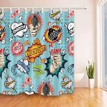 Занавески комиксов взрыв выражение динамит мультфильм печати Водонепроницаемый mildewproof полиэфирной ткани ванна шторы